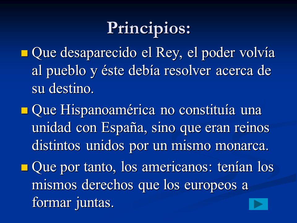 Principios: Que desaparecido el Rey, el poder volvía al pueblo y éste debía resolver acerca de su destino.