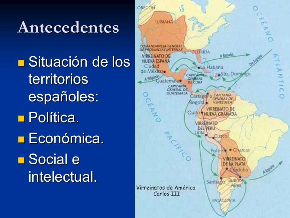 Antecedentes Situación de los territorios españoles: Política.