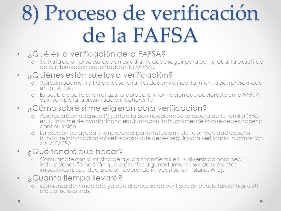 8) Proceso de verificación de la FAFSA