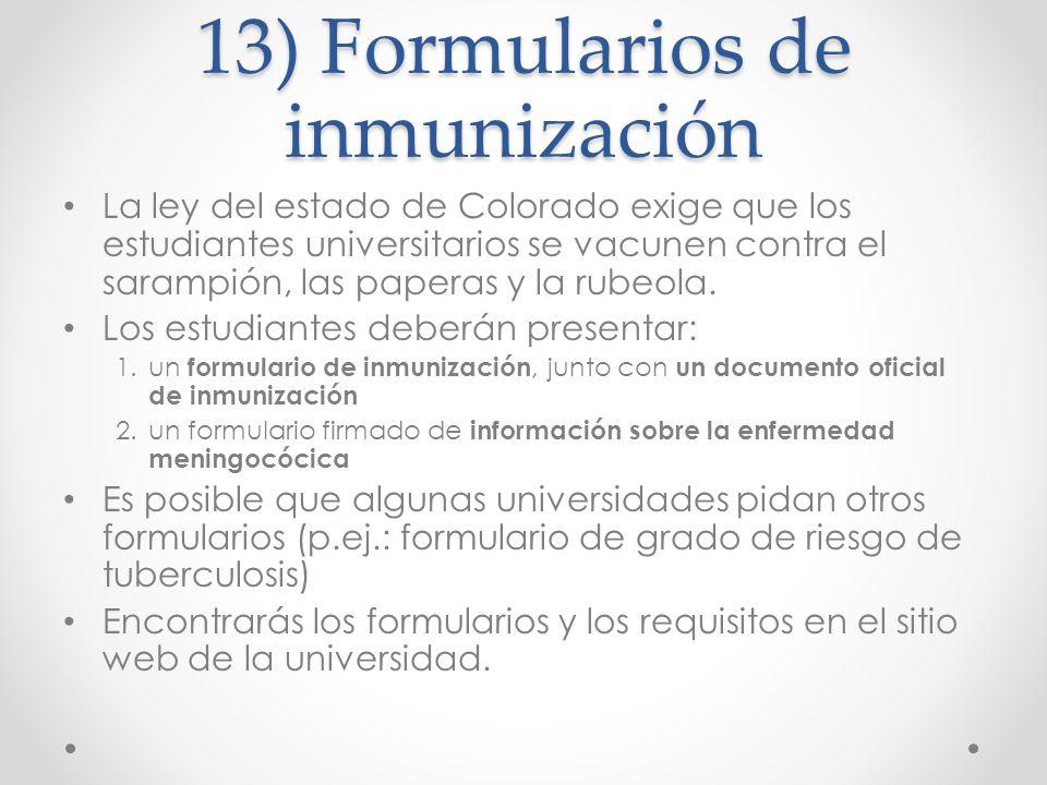 13) Formularios de inmunización