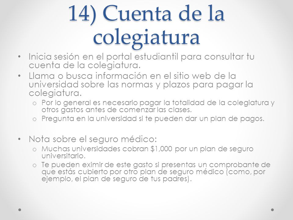 14) Cuenta de la colegiatura