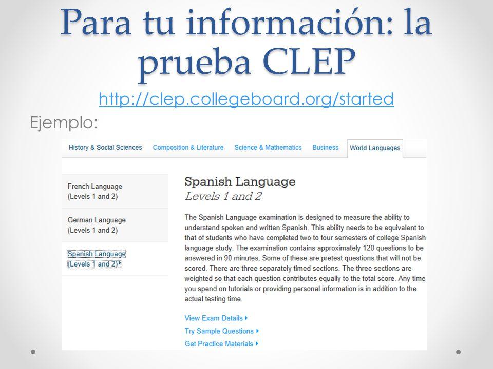 Para tu información: la prueba CLEP