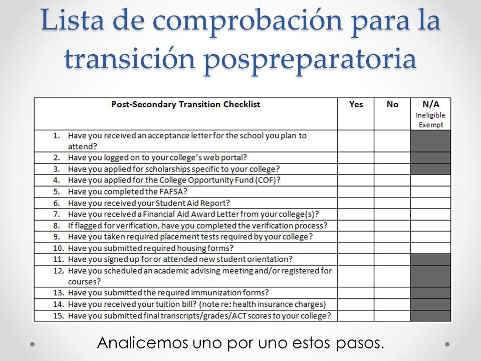 Lista de comprobación para la transición pospreparatoria