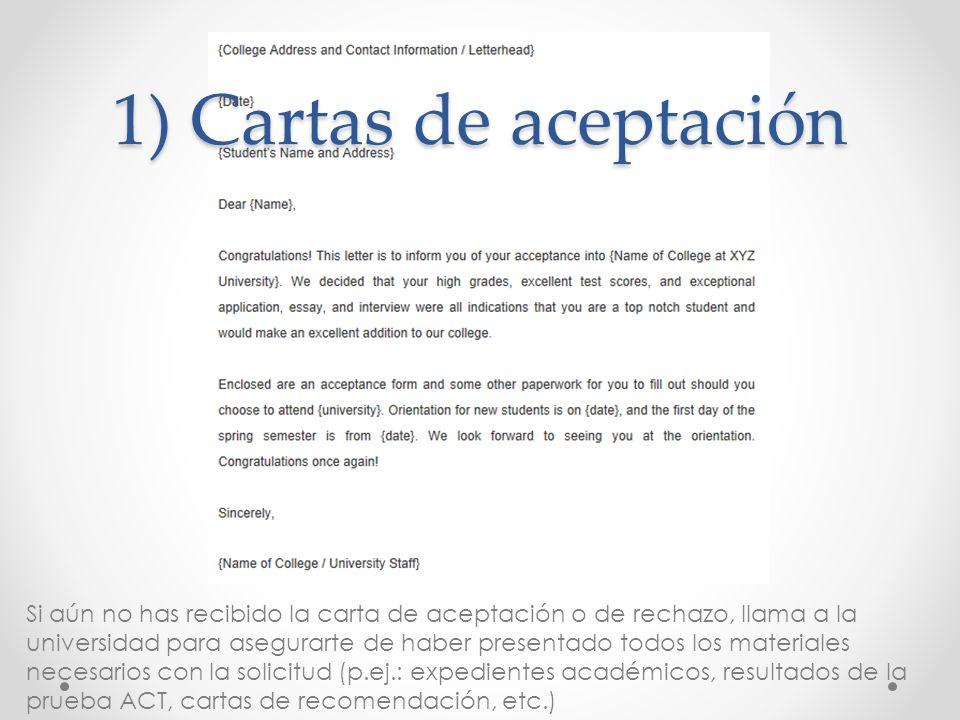 1) Cartas de aceptación