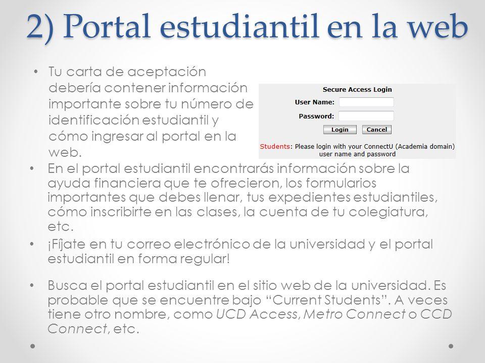 2) Portal estudiantil en la web