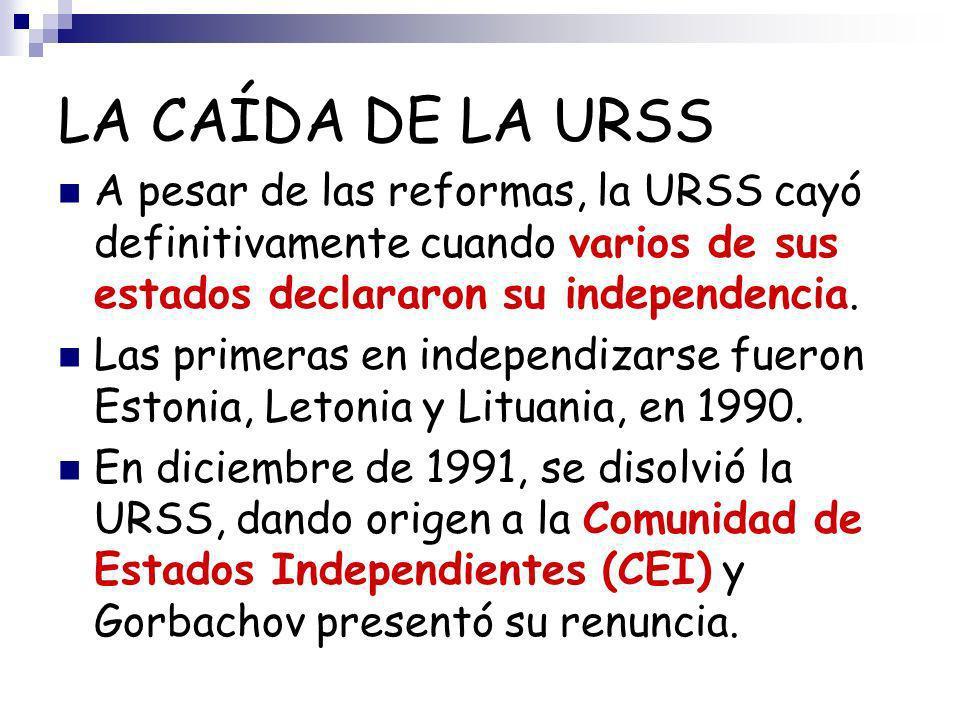 LA CAÍDA DE LA URSS A pesar de las reformas, la URSS cayó definitivamente cuando varios de sus estados declararon su independencia.