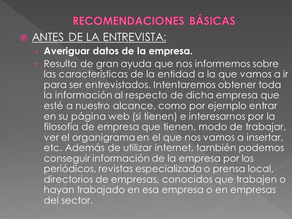 RECOMENDACIONES BÁSICAS