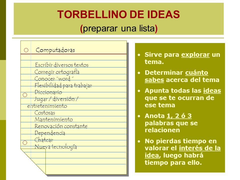 TORBELLINO DE IDEAS (preparar una lista)