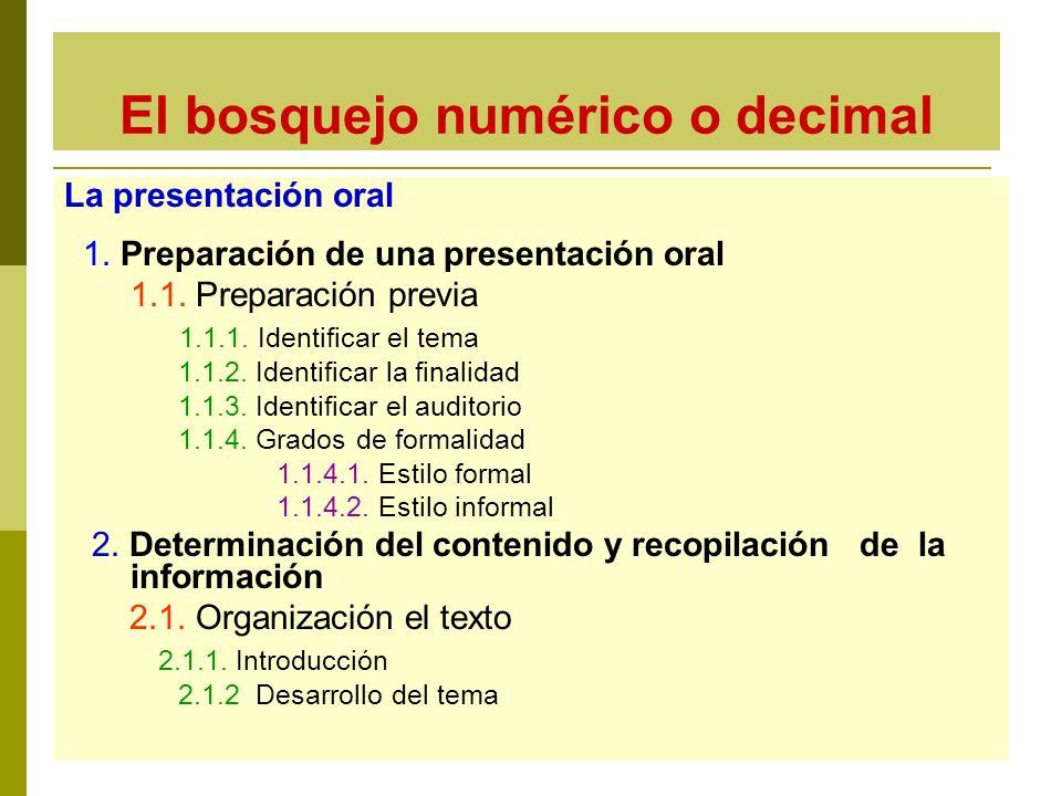 El bosquejo numérico o decimal