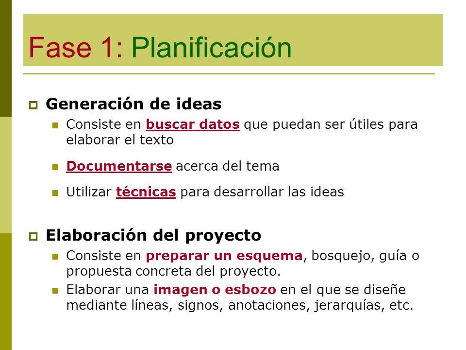 Fase 1: Planificación Generación de ideas Elaboración del proyecto