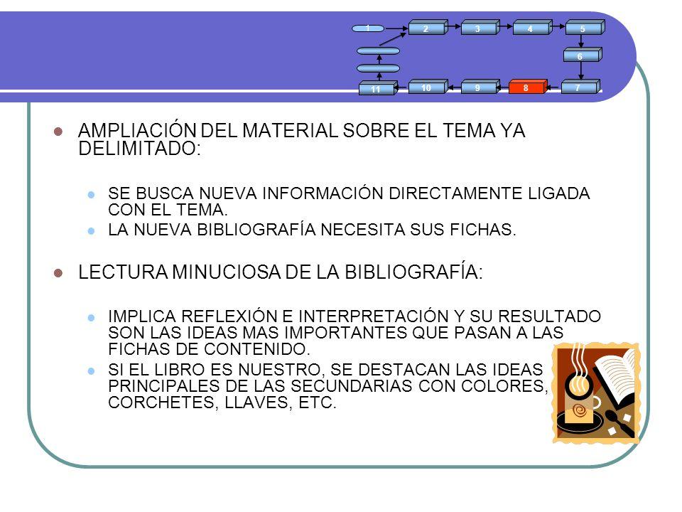 AMPLIACIÓN DEL MATERIAL SOBRE EL TEMA YA DELIMITADO: