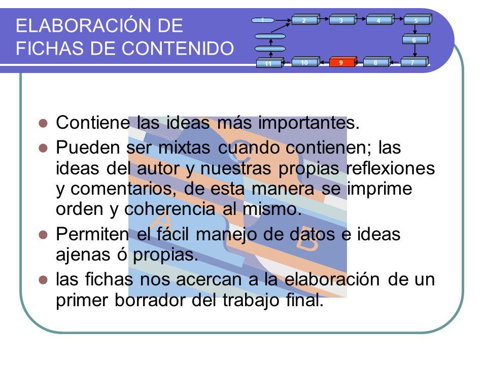 ELABORACIÓN DE FICHAS DE CONTENIDO