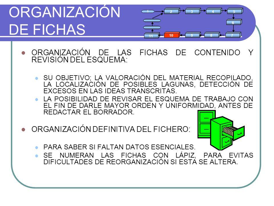ORGANIZACIÓN DE FICHAS