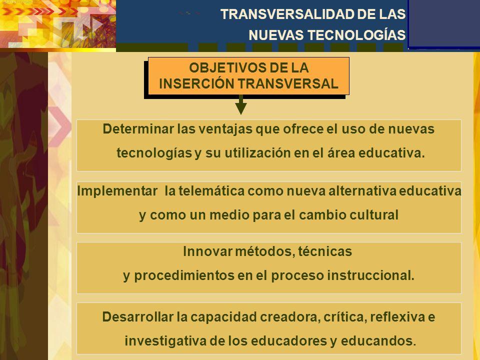 OBJETIVOS DE LA INSERCIÓN TRANSVERSAL