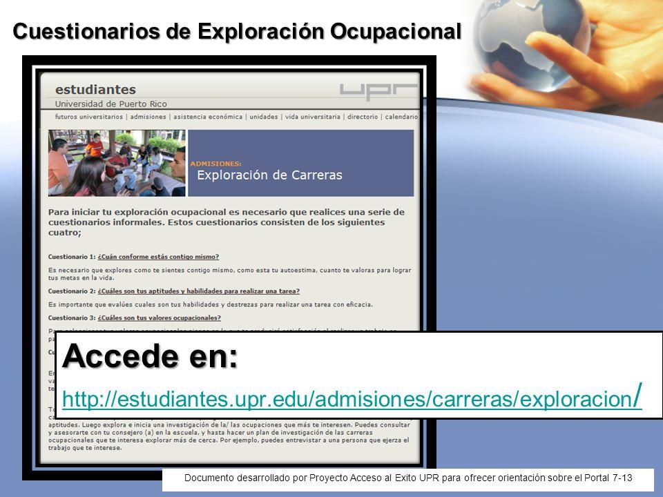 Cuestionarios de Exploración Ocupacional