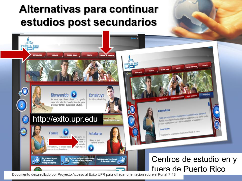 Alternativas para continuar estudios post secundarios