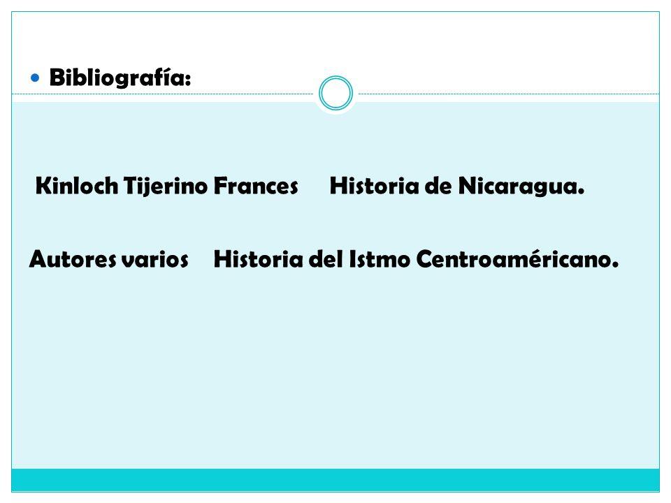 Bibliografía: Kinloch Tijerino Frances Historia de Nicaragua.