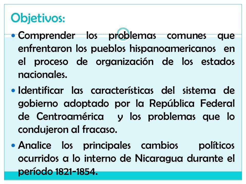 Objetivos: Comprender los problemas comunes que enfrentaron los pueblos hispanoamericanos en el proceso de organización de los estados nacionales.