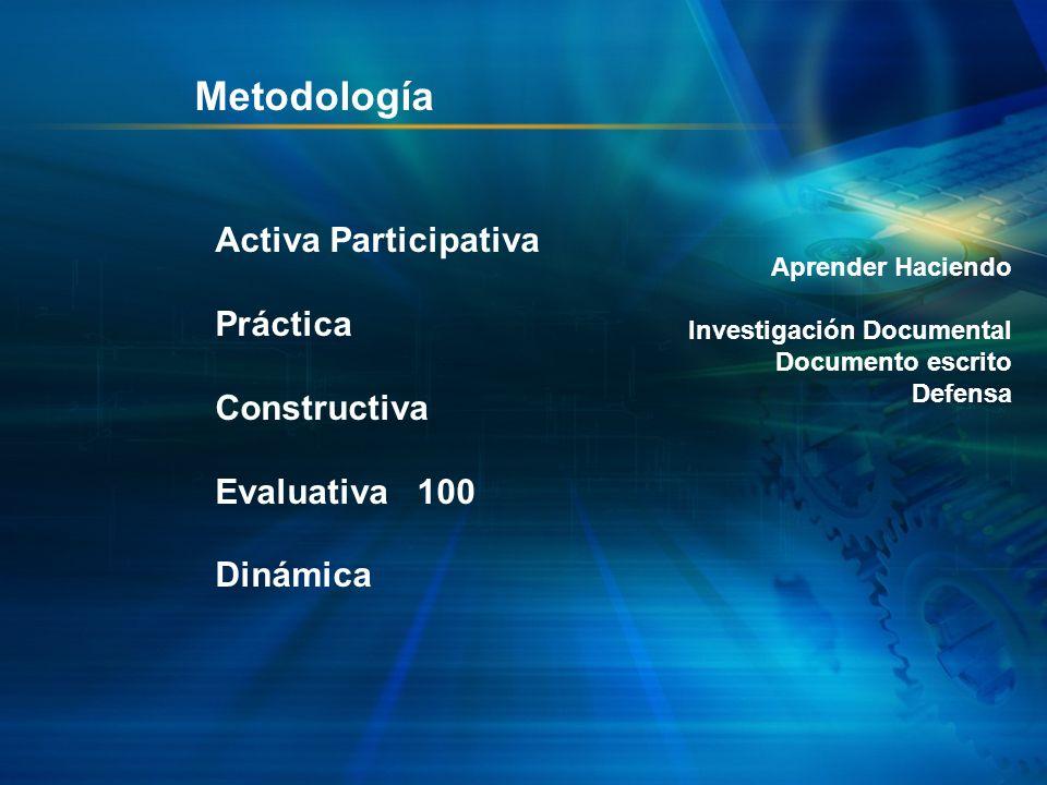 Metodología Activa Participativa Práctica Constructiva Evaluativa 100