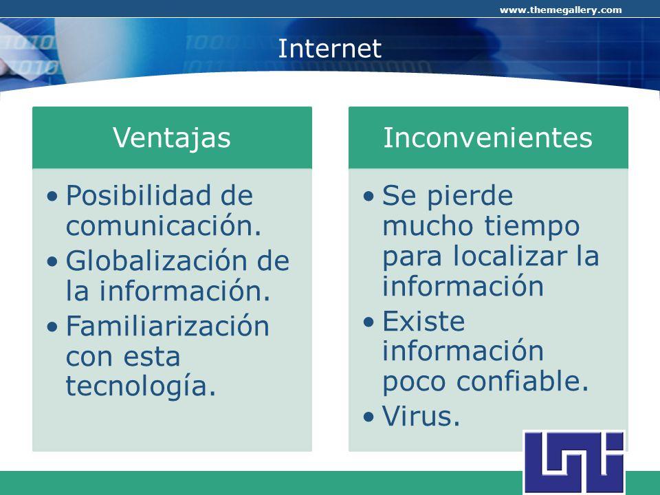 Internet Ventajas Posibilidad de comunicación.
