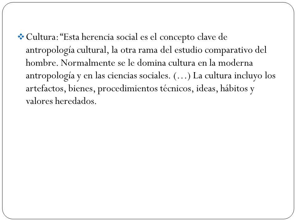 Cultura: Esta herencia social es el concepto clave de antropología cultural, la otra rama del estudio comparativo del hombre.