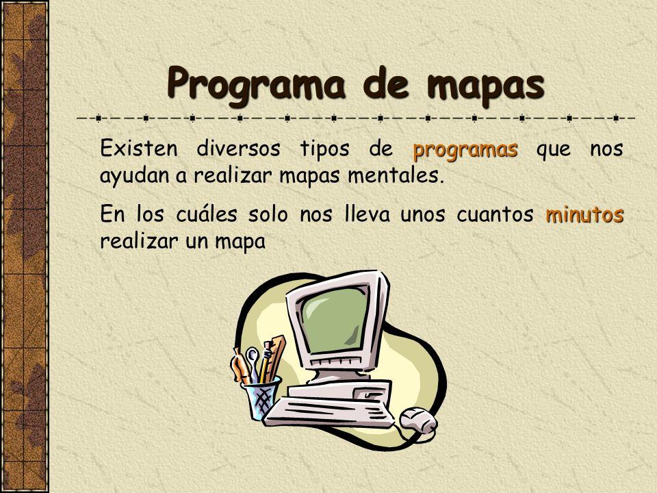 Programa de mapas Existen diversos tipos de programas que nos ayudan a realizar mapas mentales.