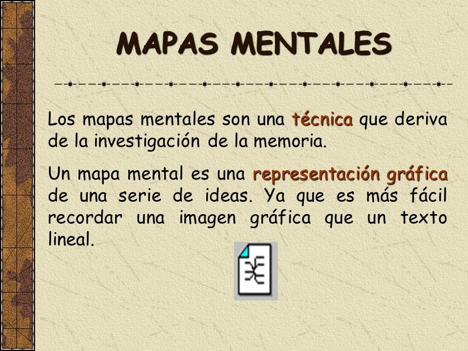 MAPAS MENTALES Los mapas mentales son una técnica que deriva de la investigación de la memoria.