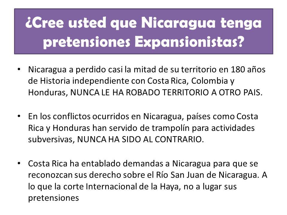 ¿Cree usted que Nicaragua tenga pretensiones Expansionistas