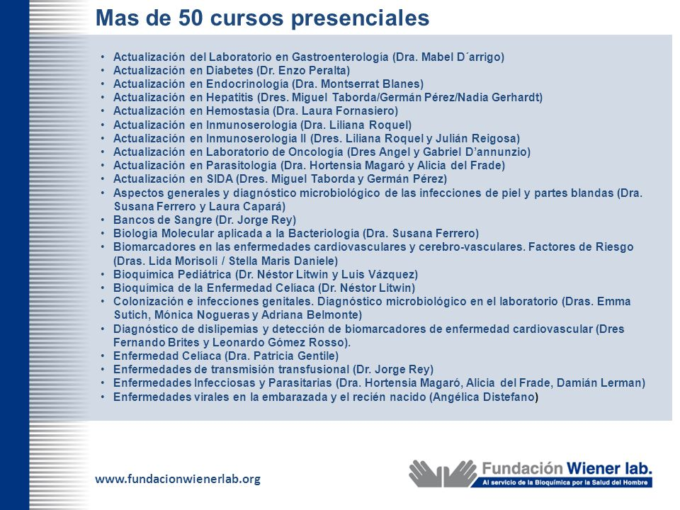 Mas de 50 cursos presenciales