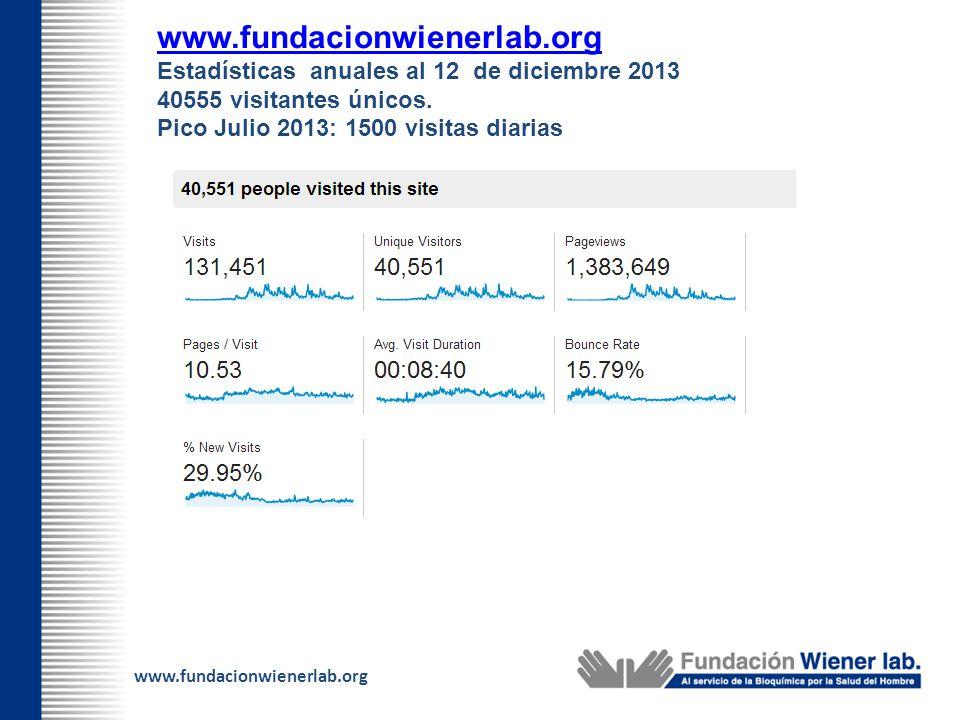 www.fundacionwienerlab.org Estadísticas anuales al 12 de diciembre 2013. 40555 visitantes únicos.