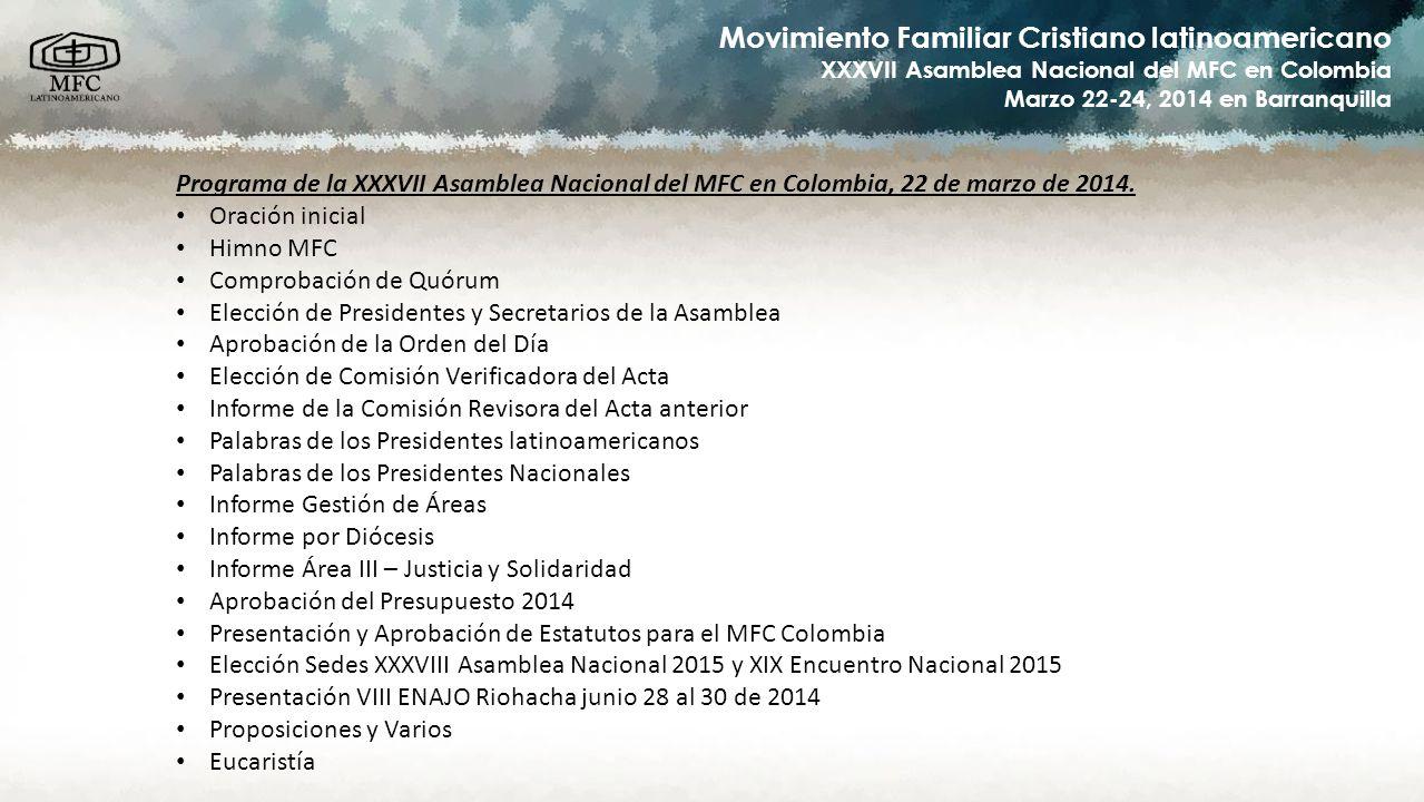 Programa de la XXXVII Asamblea Nacional del MFC en Colombia, 22 de marzo de 2014.