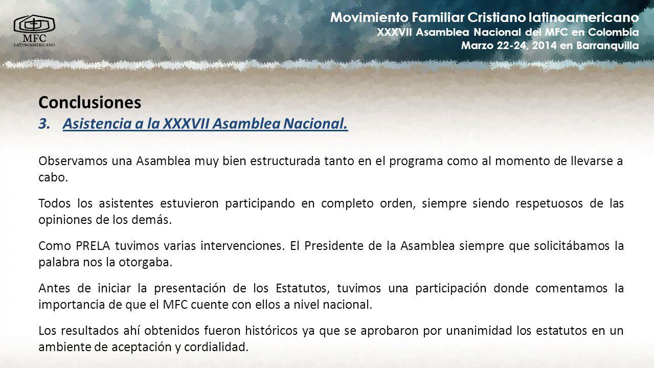 Conclusiones Asistencia a la XXXVII Asamblea Nacional.