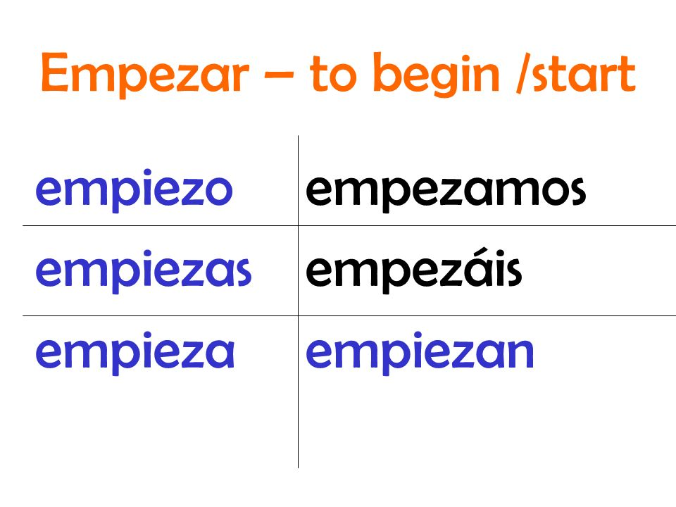 Empezar – to begin /start