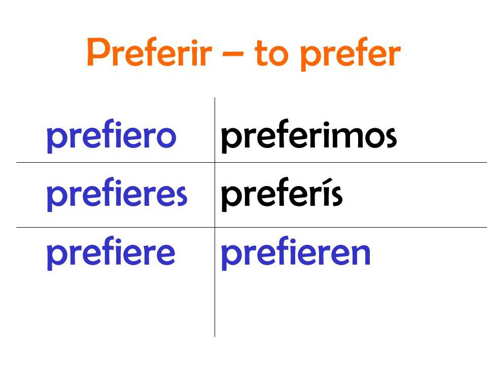 Preferir – to prefer prefiero prefieres prefiere preferimos preferís prefieren