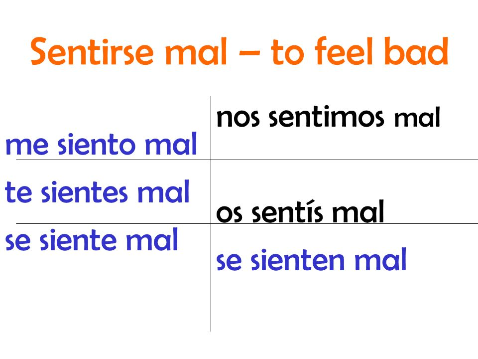 Sentirse mal – to feel bad