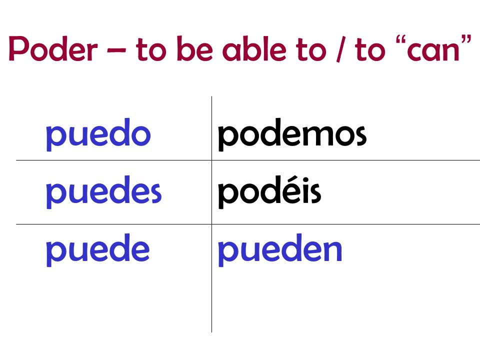 Poder – to be able to / to can
