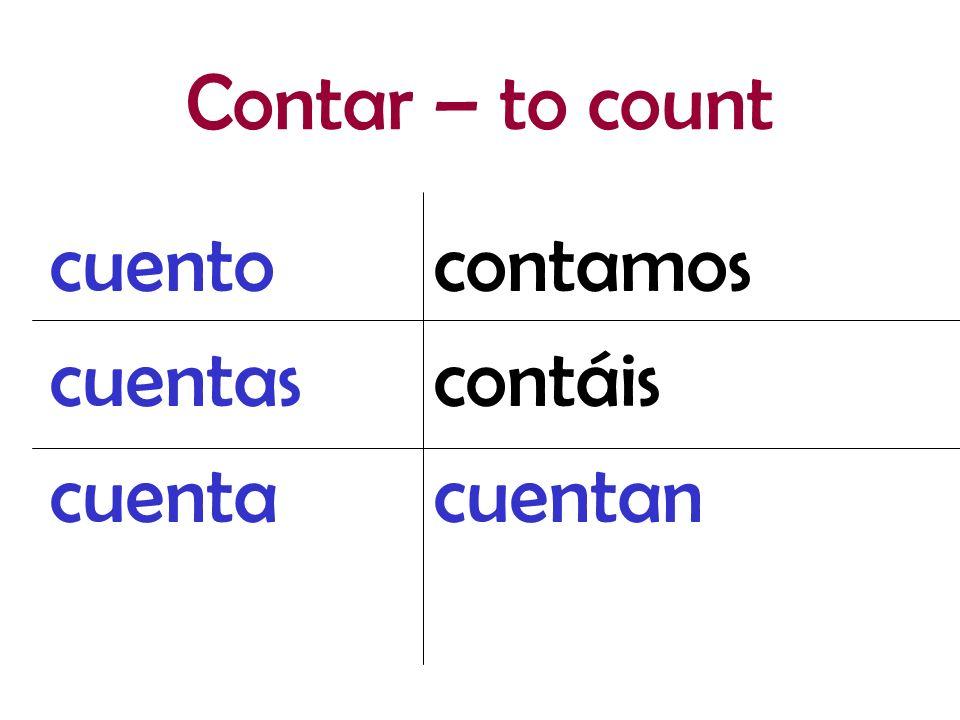 Contar – to count cuento cuentas cuenta contamos contáis cuentan