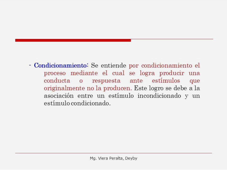 - Condicionamiento: Se entiende por condicionamiento el proceso mediante el cual se logra producir una conducta o respuesta ante estímulos que originalmente no la producen. Este logro se debe a la asociación entre un estímulo incondicionado y un estímulo condicionado.