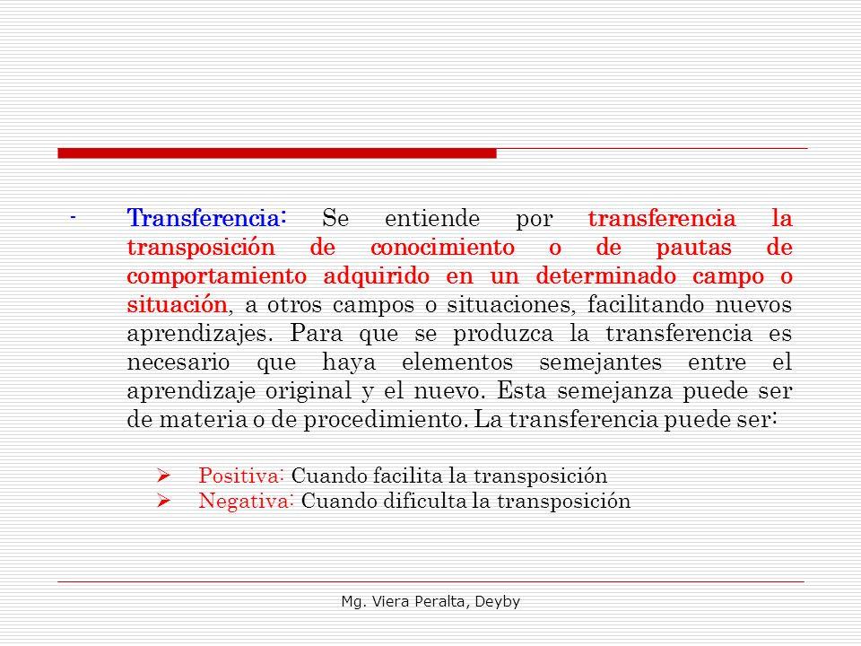 Transferencia: Se entiende por transferencia la transposición de conocimiento o de pautas de comportamiento adquirido en un determinado campo o situación, a otros campos o situaciones, facilitando nuevos aprendizajes. Para que se produzca la transferencia es necesario que haya elementos semejantes entre el aprendizaje original y el nuevo. Esta semejanza puede ser de materia o de procedimiento. La transferencia puede ser: