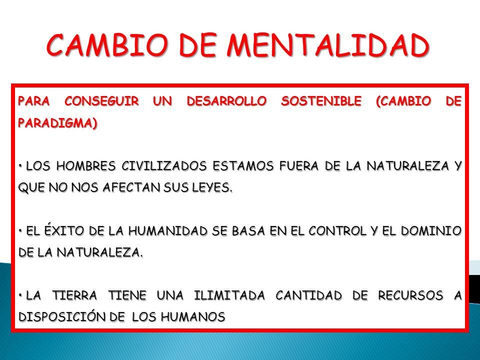 CAMBIO DE MENTALIDADPARA CONSEGUIR UN DESARROLLO SOSTENIBLE (CAMBIO DE PARADIGMA)