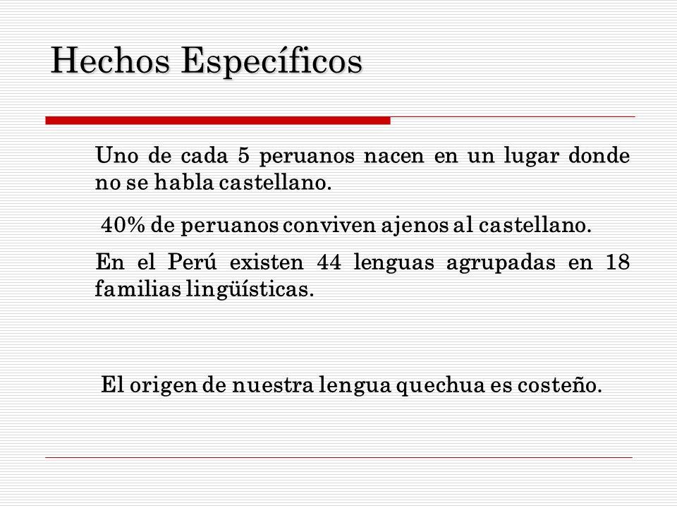 Hechos Específicos Uno de cada 5 peruanos nacen en un lugar donde no se habla castellano. 40% de peruanos conviven ajenos al castellano.