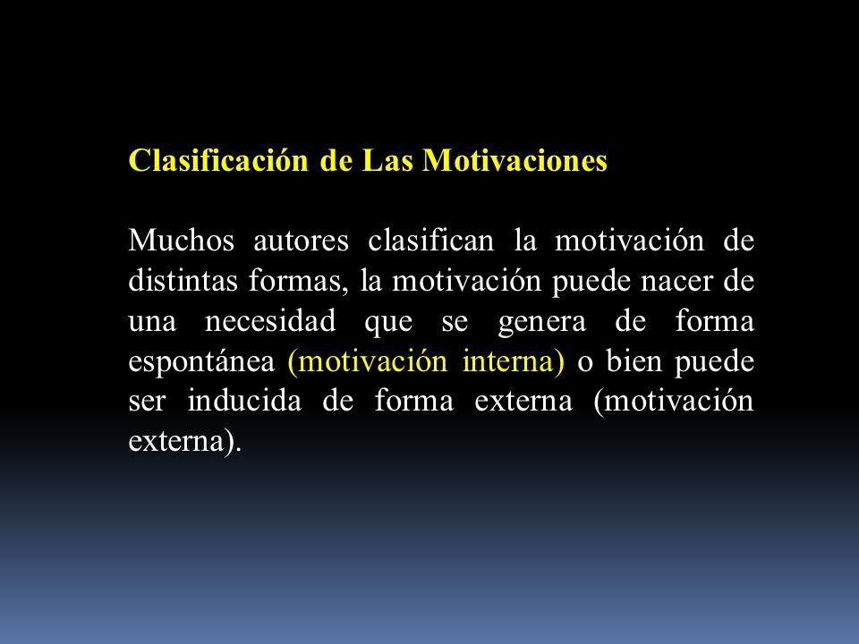 Clasificación de Las Motivaciones.
