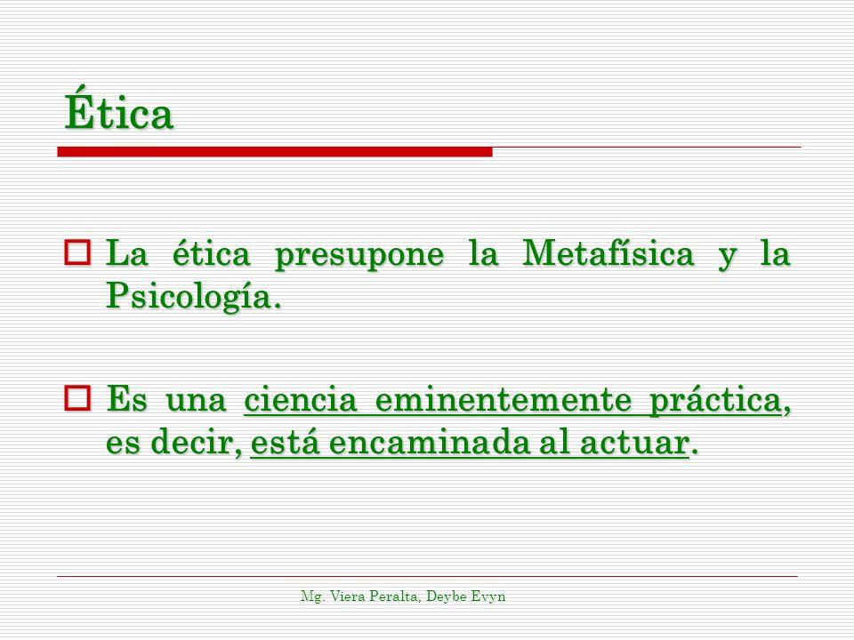 Ética La ética presupone la Metafísica y la Psicología.