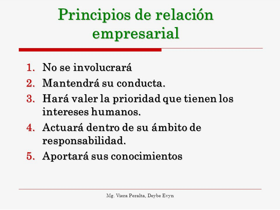 Principios de relación empresarial