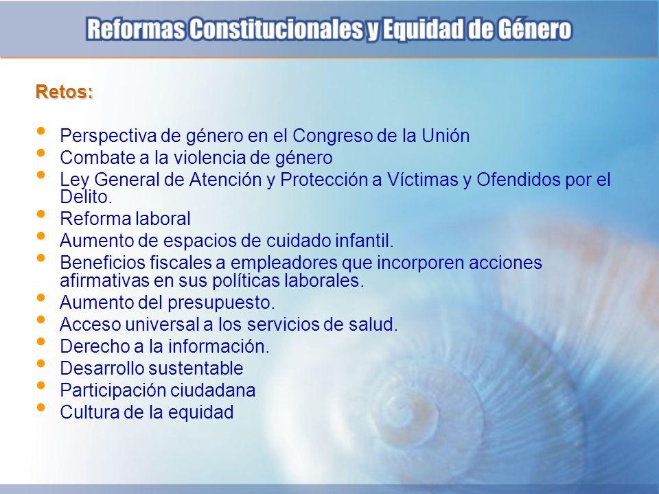 Retos: Perspectiva de género en el Congreso de la Unión. Combate a la violencia de género.