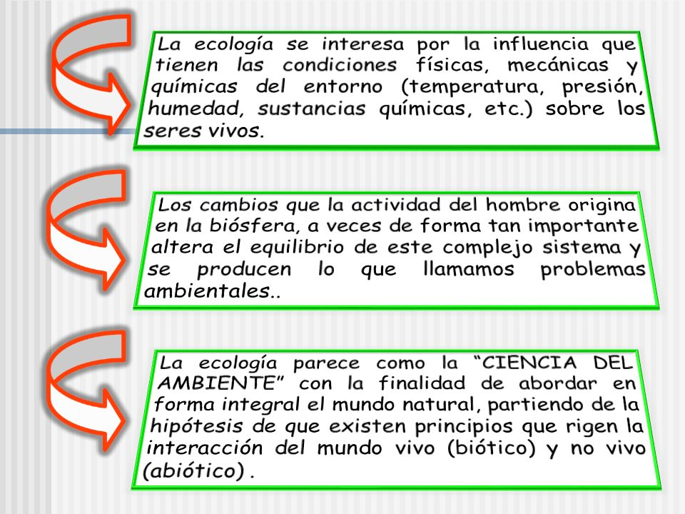 La ecología se interesa por la influencia que tienen las condiciones físicas, mecánicas y químicas del entorno (temperatura, presión, humedad, sustancias químicas, etc.) sobre los seres vivos.