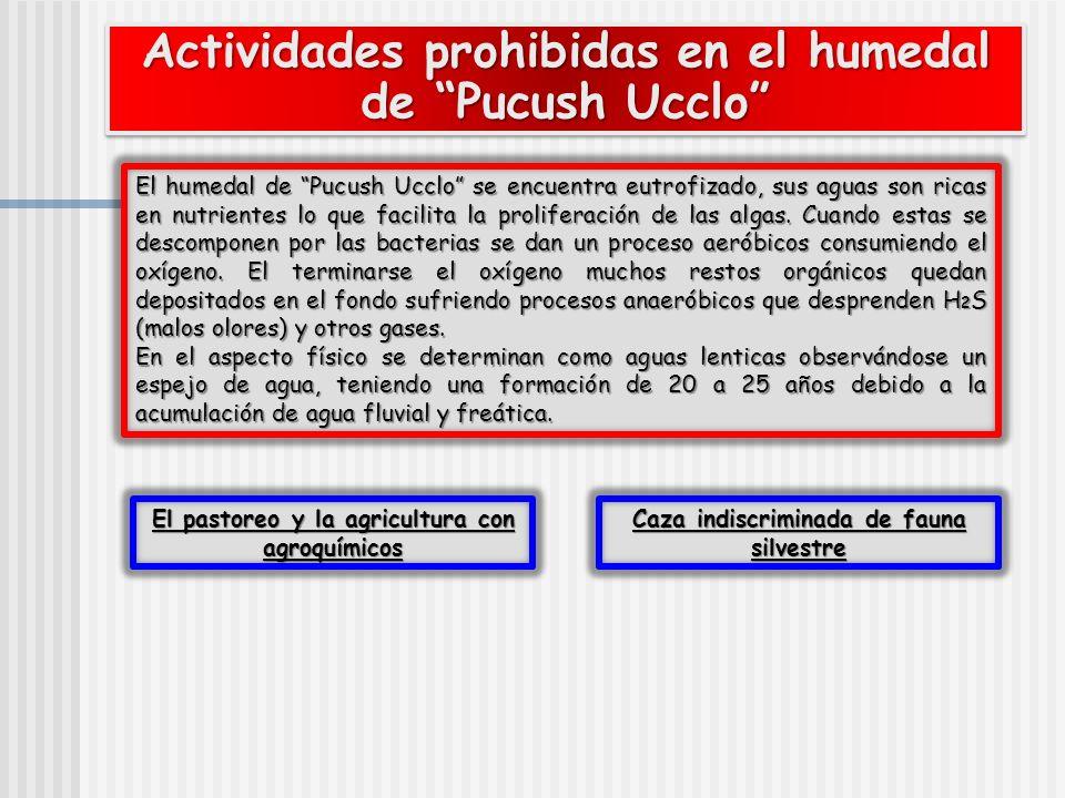Actividades prohibidas en el humedal de Pucush Ucclo