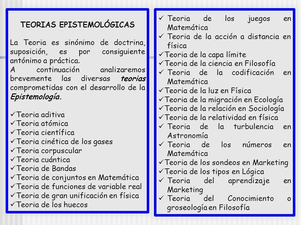 TEORIAS EPISTEMOLÓGICAS