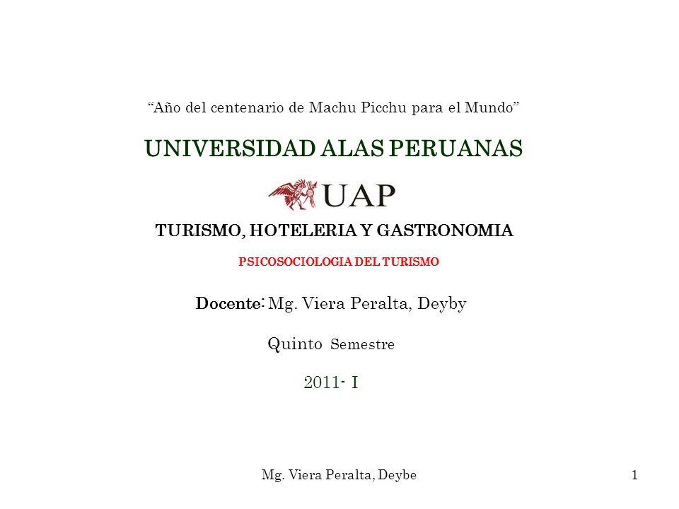 Año del centenario de Machu Picchu para el Mundo UNIVERSIDAD ALAS PERUANAS TURISMO, HOTELERIA Y GASTRONOMIA PSICOSOCIOLOGIA DEL TURISMO Docente: Mg. Viera Peralta, Deyby Quinto Semestre 2011- I