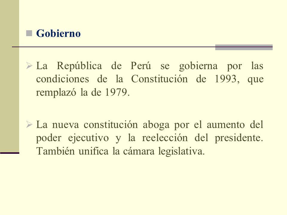 GobiernoLa República de Perú se gobierna por las condiciones de la Constitución de 1993, que remplazó la de 1979.